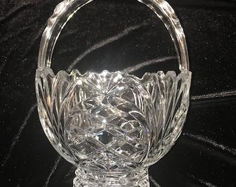 Vintage Crystal Flower Basket Vase
