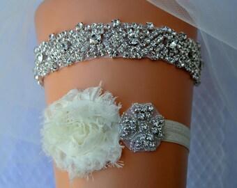 Wedding Garter Set, Bridal Garter, Wedding Garter Set, Shabby Chic Flower Crystal Bridal Garter Set, Ivory Bridal Garter Belt Set