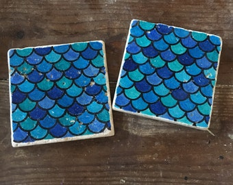 Mermaid Tumbled Stone Hand Painted Coasters