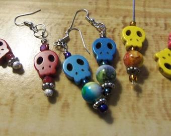 Sugar Skull Earrings, Day of the Dead Earrings