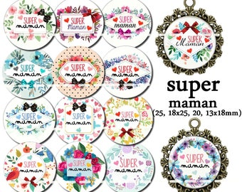 60 digital images for cabochon super MOM 25, 18 x 18, 20 and 25 x 13 mm