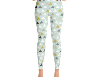 Pellerina Mod Mint triangles Yoga Leggings womens pants athletic