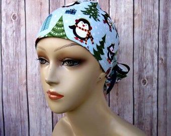 Handmade Surgical Scrub Cap - Scrub Hat - Ponytail - Penguins - Christmas Scrub Hat