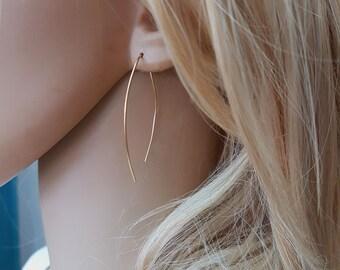 Arc earrings, Simple gold hoop earrings, open hoop earrings, wishbone earrings, almond hoops