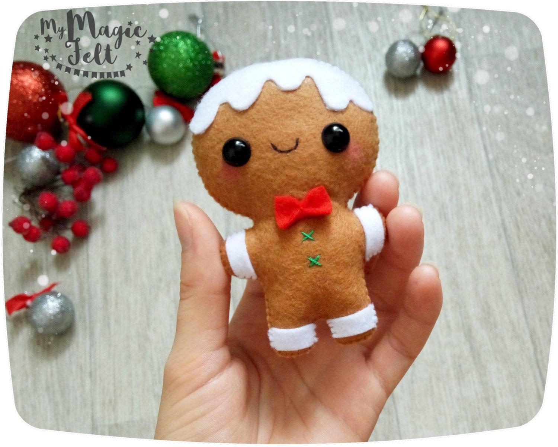 Christmas Ornaments felt Gingerbread man ornament Christmas