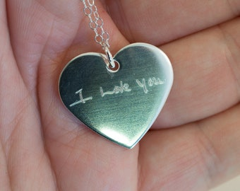 Actual Handwriting Heart Memorial Necklace - Sterling Silver - Signature Necklace