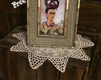 "Framed Frida Kahlo Self Portrait With Braid - Gold Sage Wood - 7.5"" x 9.5"" - Free Shipping!"