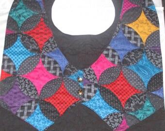 Handmade adult Vest Bib Mens Black Geometric Designs colored elegant Fancy