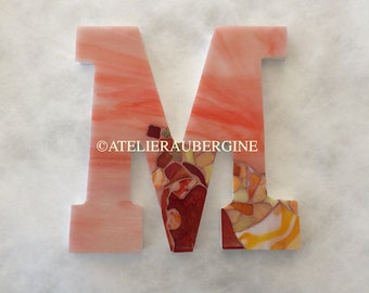 Monogram, Letter M # 4, typography with stained glass mosaic, custom letter, mosaic hanging letter.