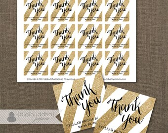 """GOLD Glitter FAVOR TAGS Bridal Shower Gold Stripes Wedding Favor Labels Couples Thank You 2.25"""" Square DiY Printable or Printed- Stella"""