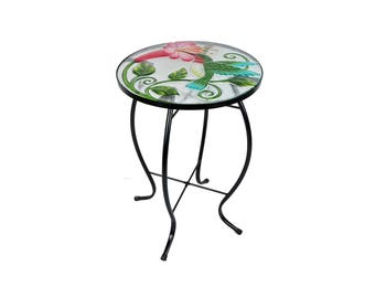 Hand Painted Glass Plant Stand / Side Table