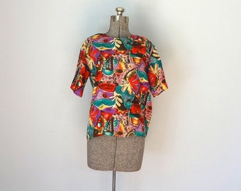 Vintage CARDENAS Blouse • 1990s Clothing • Short Sleeve Silk Boxy Cut Top Red Modern Bold Graffiti Print Shirt •Women Size Small Medium