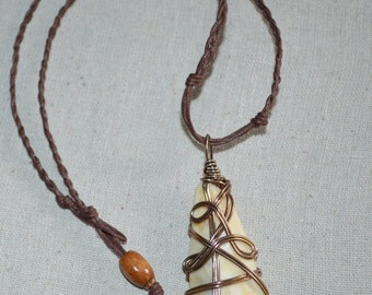Necklace Wire Wrapped Shell, Shell Necklace, Braided Cord Shell Necklace, Boho Shell Necklace