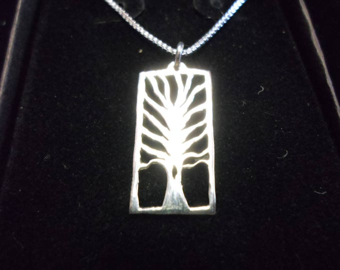 Rectangle tree of life quarter size necklace w/sterling silver chain