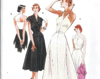 Butterick B5214 Misses Retro Style '47 Halter Dress Crop Jacket Shrug Pattern Size 8, 10, 12 and 14 Vintage 1940s