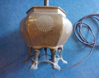 Unusual Mottled gold tone lamp,with brass? bronze? feet