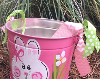 Easter Bucket, Personalized, Hand-Painted, Tin, Pail, Easter Pail, Easter Bunny Bucket, Girl Easter Bunny, Painted Bucket