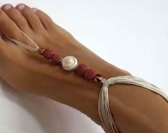 Boho Wedding Barefoot Sandals, Body and Beach Jewelry, Shell & Lava Stone Bridal Barefoot Sandals, 1 Pair