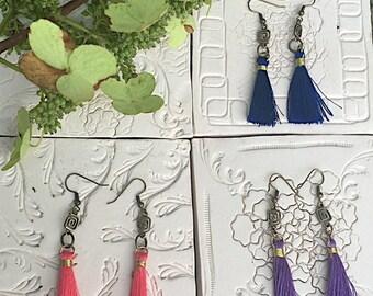 Tassel Earrings, Brass Tassel Earrings, Bohemian Tassel Earrings, Hippie Earrings