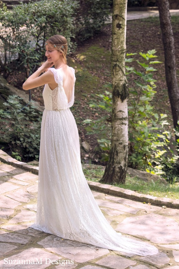 Ivory Bohemian Wedding Dress Beautiful Lace Wedding Long Gown