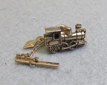 Vintage Train Engine Tie Tack, Steam Locomotive Tie Tack