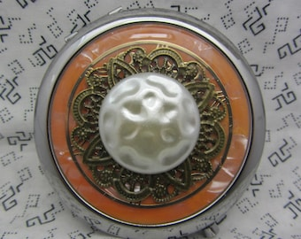 Compact mirror gift for bridesmaids - unique compact mirror with protective pouch - round handbag mirror - unique orange compact mirror