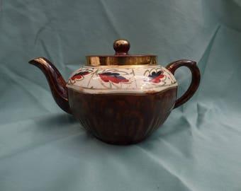 Vintage Arthur Wood, Brown Betty, Tea Pot. Hand Painted