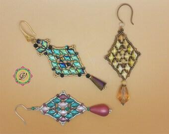 Minerva Earrings  TUTORIAL with DiamonDuo, OBeads, Bicone and Seed Beads
