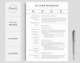 Resume Template | Professional Resume + Cover Letter | 3 Pages Pack |  Creative Resume Template