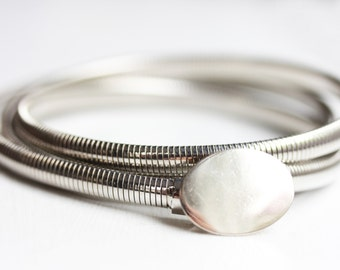 Silver Oval Coil Belt - M