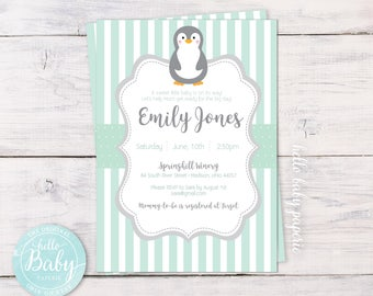 Penguin Shower Invitation, Baby Shower Invitation, Penguin Theme Baby Shower, Baby Penguin, Mint Green Baby Shower