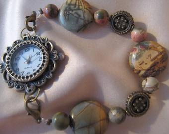 Interchangeable Jasper Watchband w/Brass Watch Face