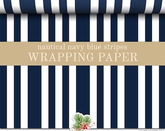Gift Wrap Nautical Navy Blue And White Stripes Pattern | Custom Wrapping Paper In Two Sizes Great For Any Occasion. Made In The USA