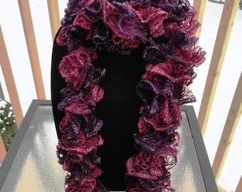 Pink and Purple Hand Knit Sashay Ruffle Scarf