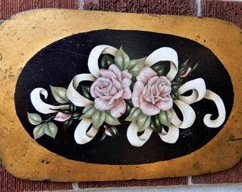 Vintage PINK ROSES Ribbons Leaves Hand-Painted on WOOD Board Salvage Top c1988