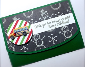 Merry Christmas Bus Driver Gift Card Holder
