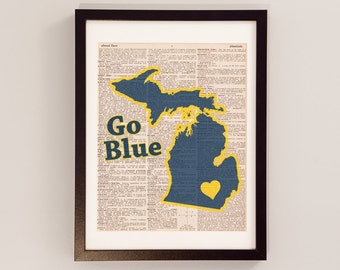 University of Michigan Dictionary Art Print - Michigan Art - Print on Vintage Dictionary Paper - I Heart Ann Arbor - Michigan Wolverines