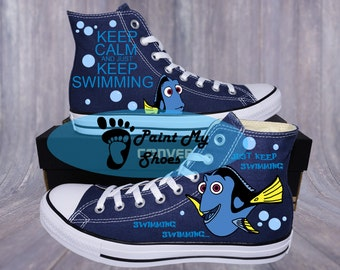 Fish shoes, Custom shoes, Converse, hand painted shoes, free shipping in the US