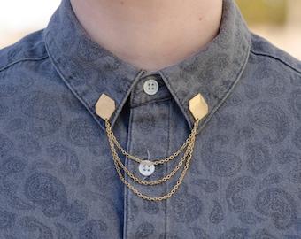 Cubo geométrico oro Collar/Rebeca Clip
