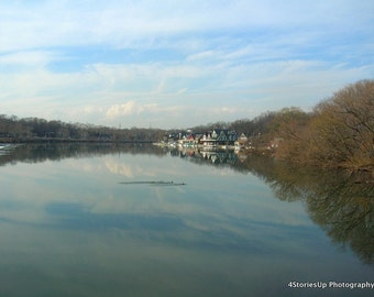 Boathouse Row Philadelphia Digital Download Photography Schuylkill River Landscape Fairmount Park Blue Sky Sunny Day Reflection