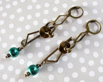 Brass and Teal Geometric Earrings (4079)