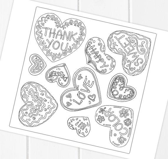 Valentinstag Kekse und Pralinen Malvorlagen druckbare
