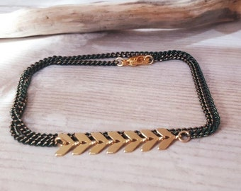 Fish 2 spike bracelet gold plated rounds