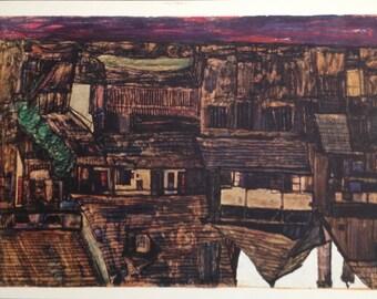 """Schiele Egon, 12, Lithograph """"House in Krumau"""" printed 1968"""