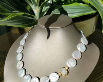 Helen Wang Necklace - 14K Gold-Filled Stardust & Details, Colossal Natural Biwa Pearls, Gold-Leafed Drusy