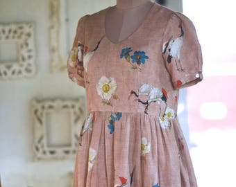 Kohima, Hand Made Organic Dress in Vintage Floral Print by kaito