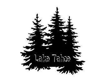 Fir Tree Lake Tahoe Sticker Decal