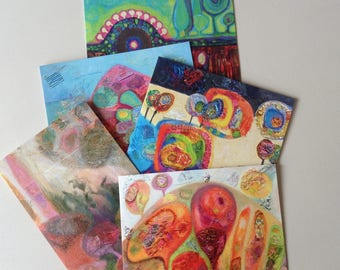 Set of 5 Fine Art greetings cards from choice of 10, blank inside, for any occasion