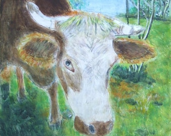 Cow Daisy - cow Daisy (original hand painted acrylic painting. 20 x 20 cm on MDF board) worldwide free shipping from Germany!