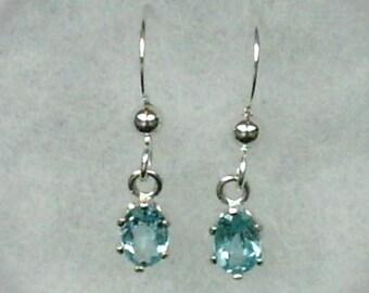6x4mm Blue Apatite Gemstones in Argentium Silver Earwire Dangles